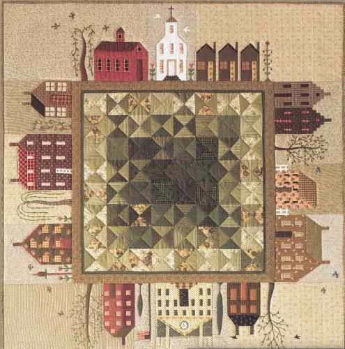 Quilted Village by Janet Miller. Folkart appeal. The village may be appliqued or paper foundation pieced. www.citystitcher.com