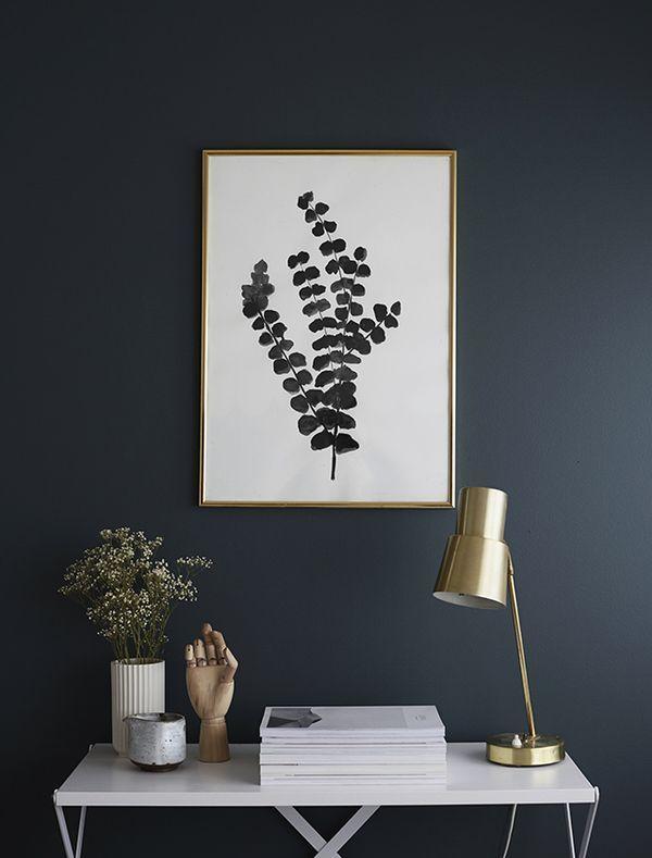 Black Paint | Brass Table Lamp | Office Space | Fern artwork