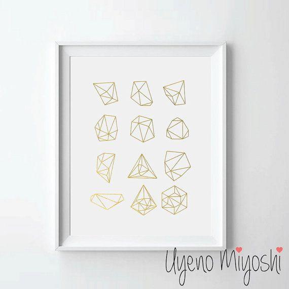 Geometric Shapes III Gold Foil Print Gold Print by UyenoMiyoshi
