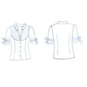 """JJ"" pattern redrafted by anajan. classic blouse, pleated bib and semi-princess seams. V-cut button closure."