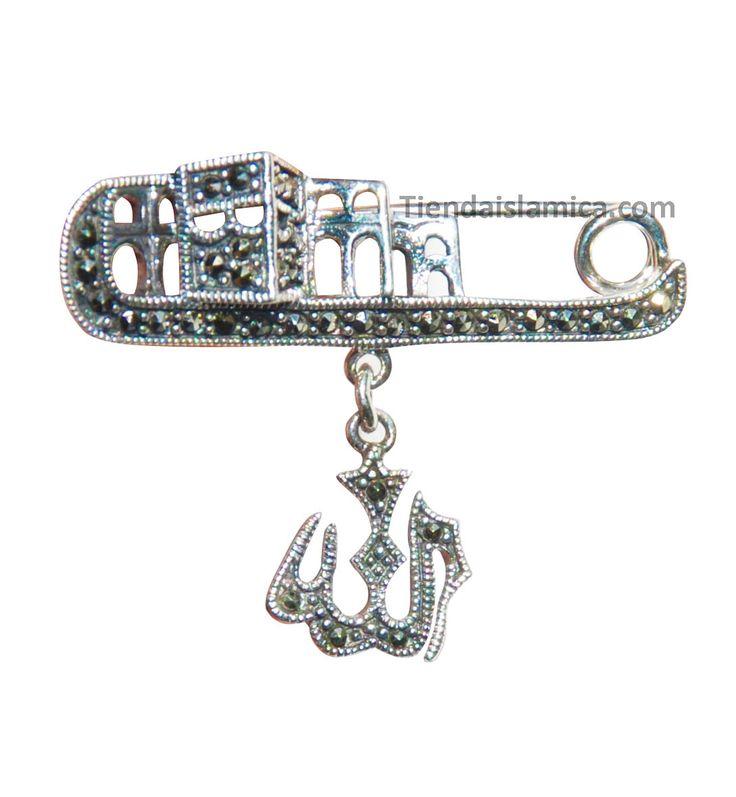 "Pin o Pendiente Pequeno de Plata Esterlina Islamica Para Panuelos o Hijab de ""Allah & Kabah"" con Piedras Inscrustadas Marcasita  Por: $19.99"