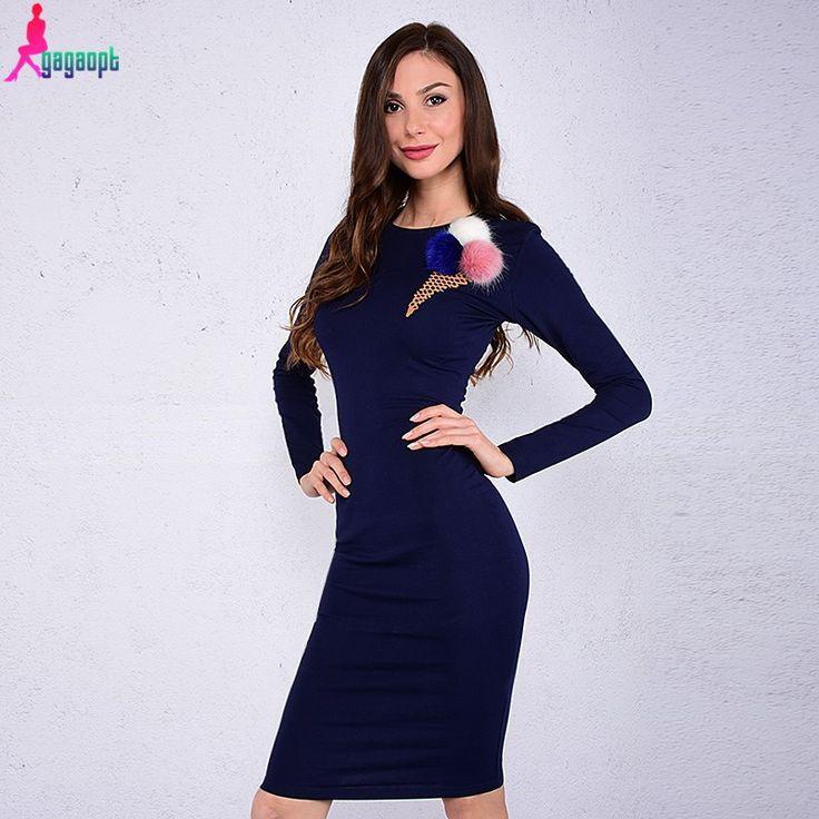 Autumn Colorful Print Ice Cream Knee-length Black Women Office Party Maxi Dress