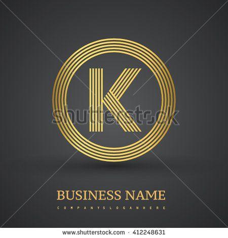 Elegant gold letter symbol. Letter K logo design. Vector logo design template elements  for company identity. - stock vector