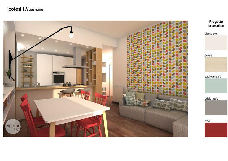 Per la zona living sono state pensate più soluzioni; Nel parquet in legno doussiè si ritaglia una zona in graniglia che delimita l'area più propriamente della cucina. Lo stile è sempre lineare e funzionale. E' uno spazio pensato per essere il centro della vita domestica, per cucinare e ricevere amici.