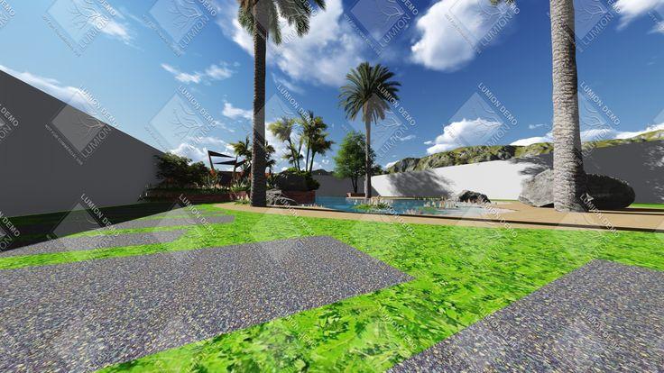 Patio de 150 metros cuadrados con piscina natural