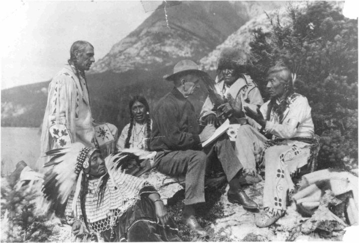 James Willard Schultz with Blackfoot (Kainai) group - no date. My Father was a…