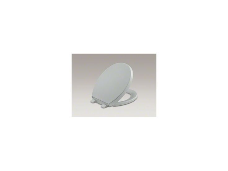 Kohler K-4009 Reveal Round Closed-Front Toilet Seat with Grip Tight Bumpers Qui Ice Grey Accessory Toilet Seat Round