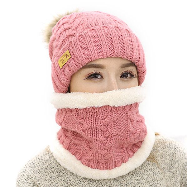 Women Winter Warmer Knitted Hat And Neck Collar Set With Artificial Fur Pompom Flexible Hat  #women #fashion #accessories
