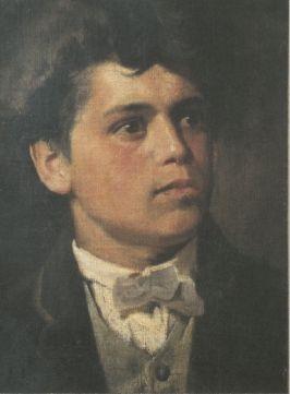 Giovanni Segantini, AUTORITRATTO ALL'ETÀ DI VENT'ANNI, 1880, Olio su tela, cm 35x26, Arco, Municipio