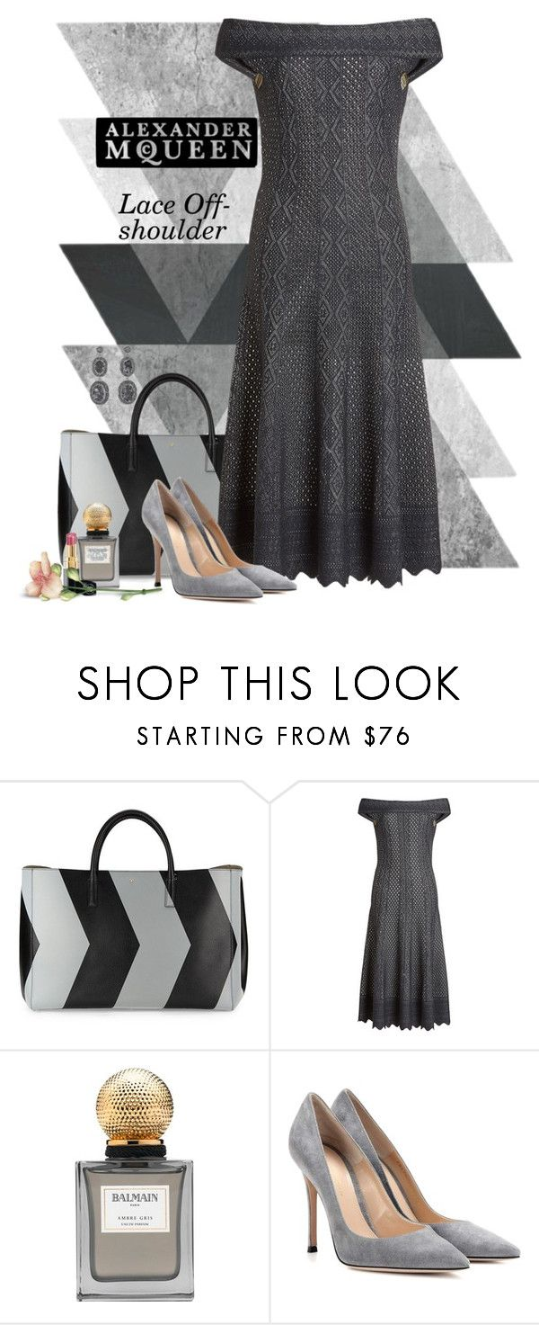 """""""MQueen Lace Off-Shoulder Dress"""" by ritadolce ❤ liked on Polyvore featuring Anya Hindmarch, Alexander McQueen, Balmain, Gianvito Rossi, Soru Jewellery and Chanel"""