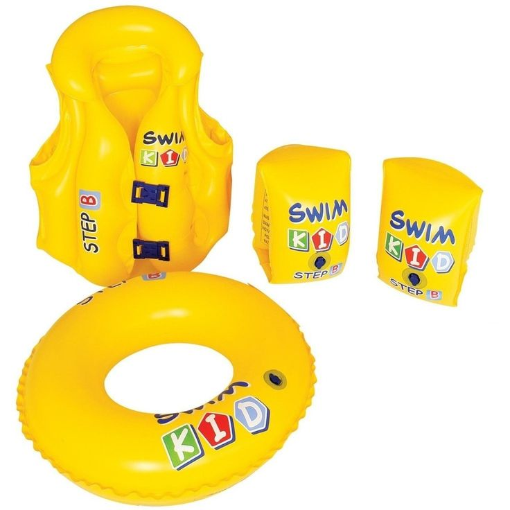Pool Central 4-Piece Inflatable Yellow Swim Kid Kids Swimming Pool Float Learning Set 32148720