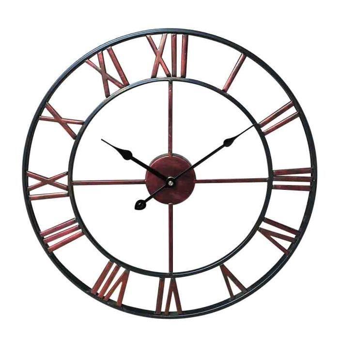Horloge Pendule Murale En Metal Style Vintage Diametre 45 Cm Rouge Pendule Horloge Horloge Murale Horloge Industrielle