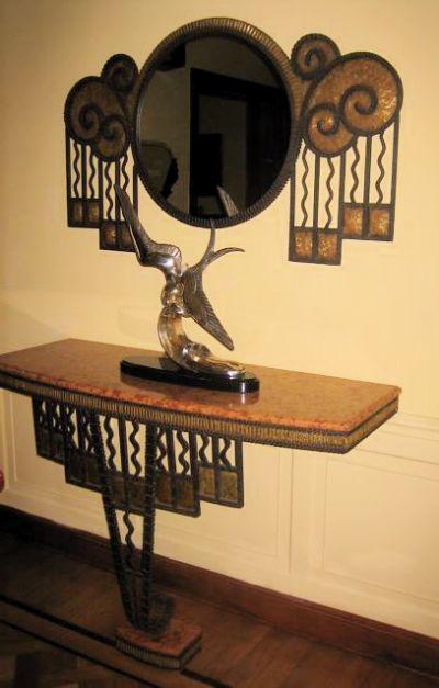 ღღ Art Deco Iron Framed Mirror with Matching Console - Art Deco Mirrors - ArtDecoCollection.com