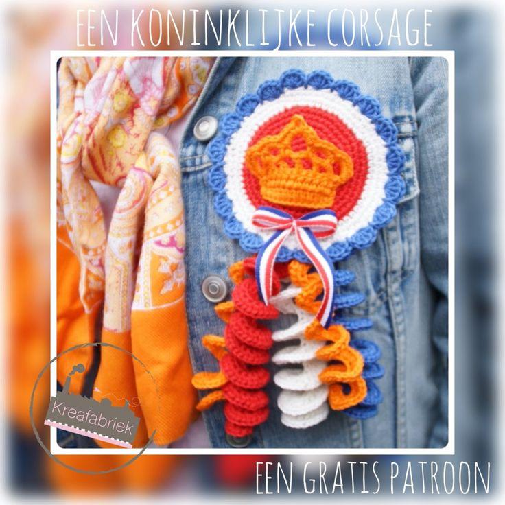 #haken, gratis patroon, Nederlands, broche, corsage, Koningsdag, Holland, #haakpatroon
