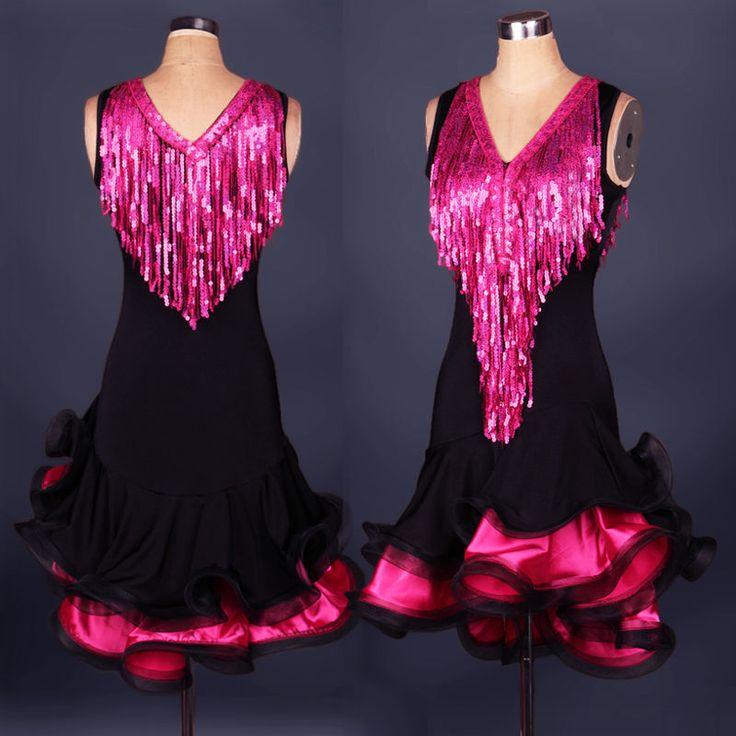 V-neck Latin Dance Dress salsa tango Cha cha Ballroom Group Dance Dress N015 #Unbranded