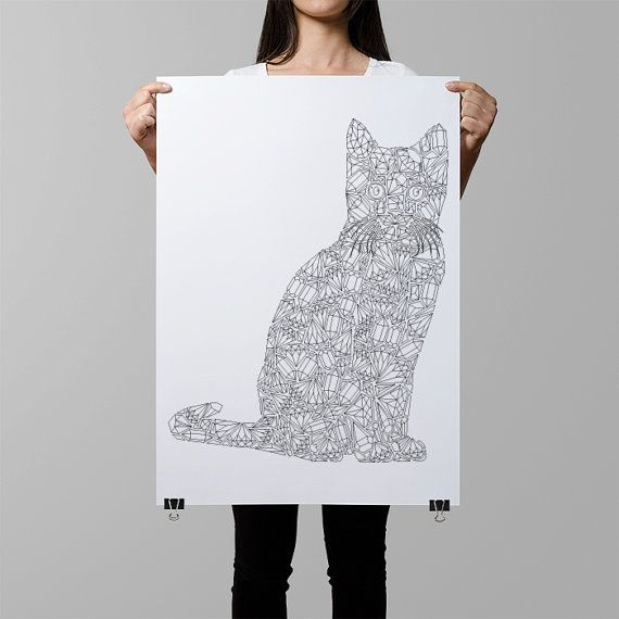 cat coloring poster crystals cat illustration diamonds cat coloring page crazy cat lady wall art cat wall decor cat home decoration by AnnaGrundulsDesign