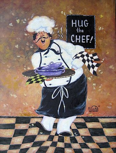 Hug the Chef Art Print fat chef prints, chef paintings, whimsical chefs, chef…