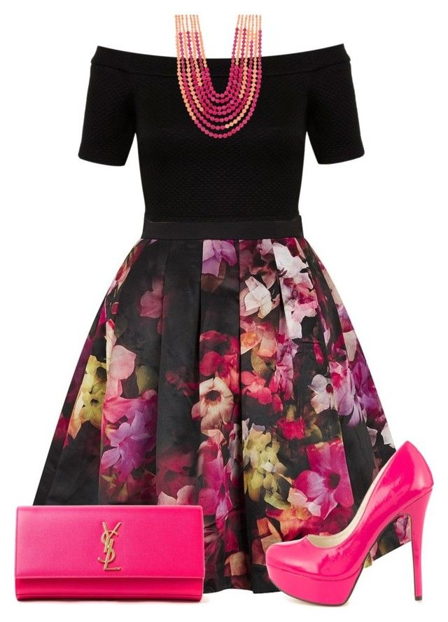 """""""Vibrant colour pop"""" by burtiva ❤ liked on Polyvore featuring Ted Baker, Miss Selfridge, Rosantica, Michael Antonio, Yves Saint Laurent and bright"""
