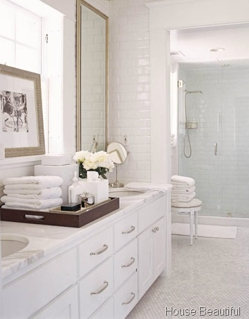 love the blue tile in shower and tile floors - feels like a spa