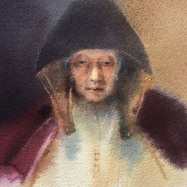 """""""Пожилая женщина за чтением"""" копия с картины Рембрандта, бумага-акварель  """"Old woman reading"""", my Rembrandt's painting reproduction, watercolor on paper  #watercolor #portraiture #акварель #портрет #рембрандт #rembrandt"""
