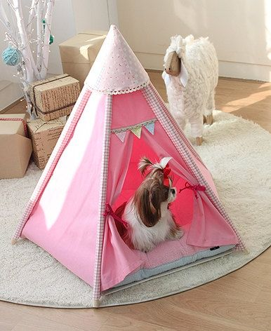 ...perfect for the glamper puppy.....!!!!!  Mini pink tent for dog pet house teepee tent indian by goodhapy, $70.00