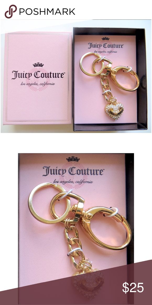 """JUICY COUTURE Gold Crystal Heart Charm Key Fob NWT JUICY COUTURE gold tone rhinestone heart charm w/""""Juicy Couture logo"""" name plate key fob/key chain in pink gift box will be a perfect gift for you or someone special!  Key Fob with clip """"Juicy Logo"""" name plate on heart charm Approximately 4.5"""" length Lobster claw clasp Rhinestone accent charm  *Bundle Discounts * No Trades * Smoke free Juicy Couture Accessories Key & Card Holders"""
