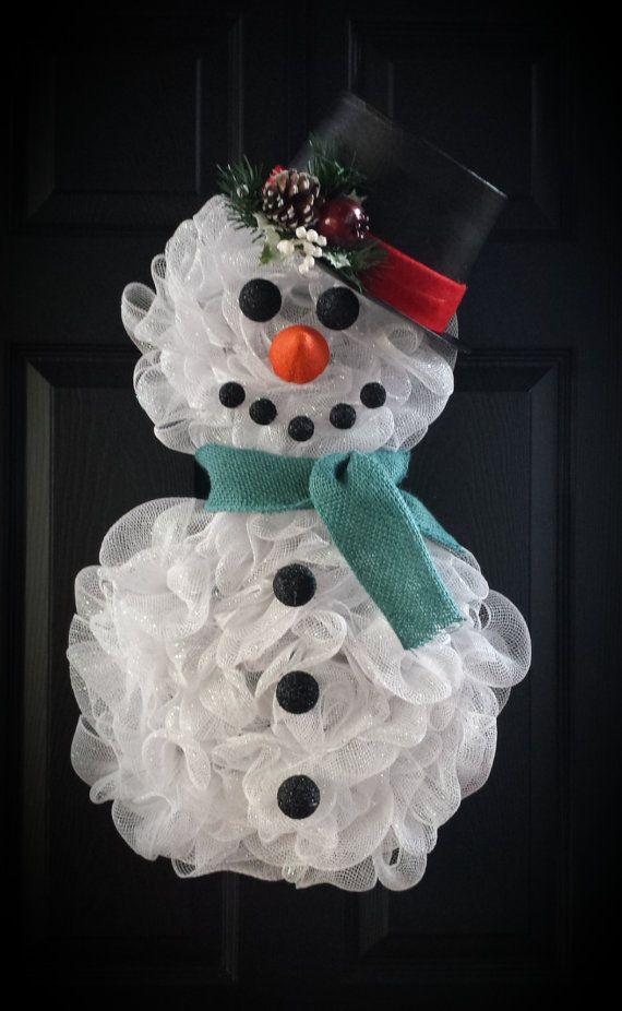 Deco Mesh Snowman Wreath
