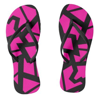 Hot pink cracked design flip flops - pink gifts style ideas cyo unique
