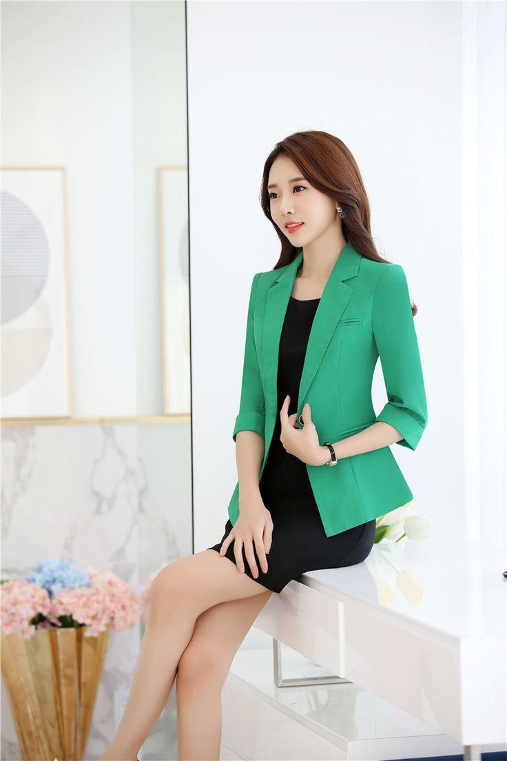 Formal Verde Chaqueta Blazer Mujeres Juegos de Falda Sets Señoras Elegantes Trajes de Negocios Ropa de Trabajo Estilo Uniforme de la Oficina
