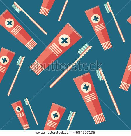 Toothpaste and toothbrush flat icon seamless pattern. #beautypattern #vectorpattern #patterndesign #seamlesspattern