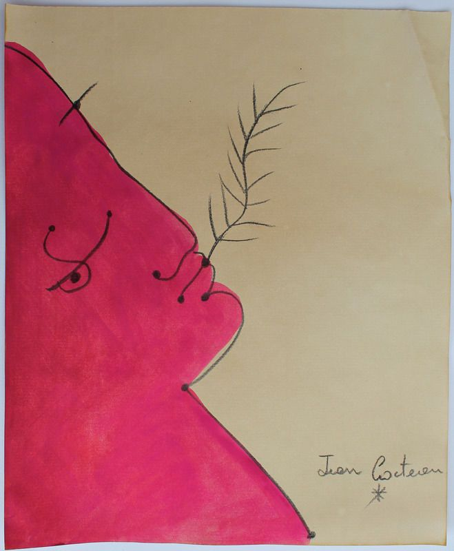 Pencil drawing watercolor signed JEAN COCTEAU
