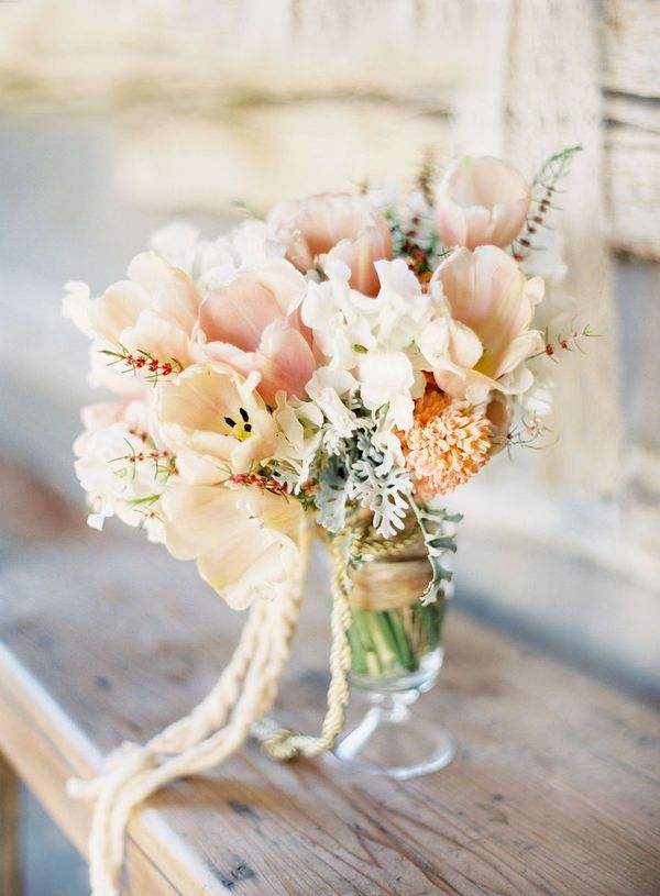 tulips, dusty miller and sweet peas bouquet..love the texture: Wedding Ideas, Wedding Bouquets, Wedding Flowers, Peach, Dream Wedding, Weddingideas