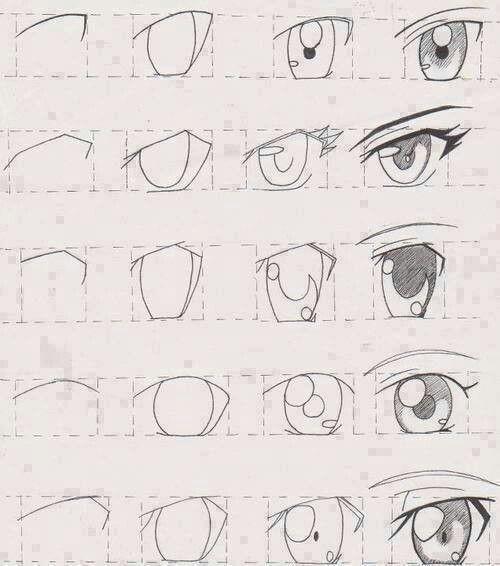 Step by step manga eyes.