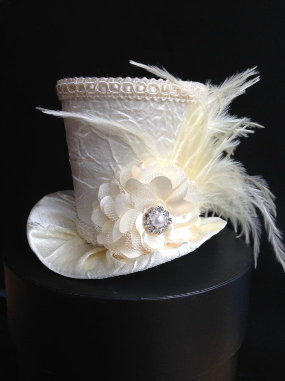 Ivory Crushed Satin Mini Top Hat With for Wedding, Bachelorette Party, Bridal Shower, Tea Party or Photo Prop