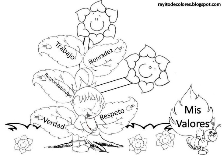 Colorea valores  EDUCACIN EN VALORES  Pinterest  Colorear