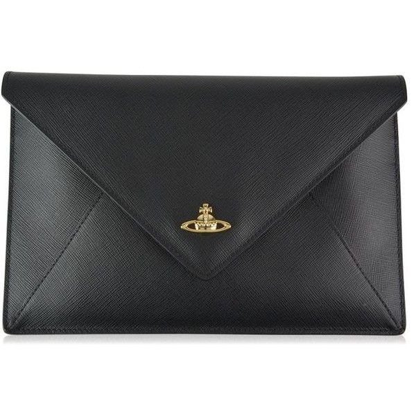 Vivienne Westwood Accessories Orb Envelope Clutch Bag ($155) ❤ liked on Polyvore featuring bags, handbags, clutches, black, vivienne westwood handbags, vivienne westwood, imitation handbags, faux purses and faux-leather handbags