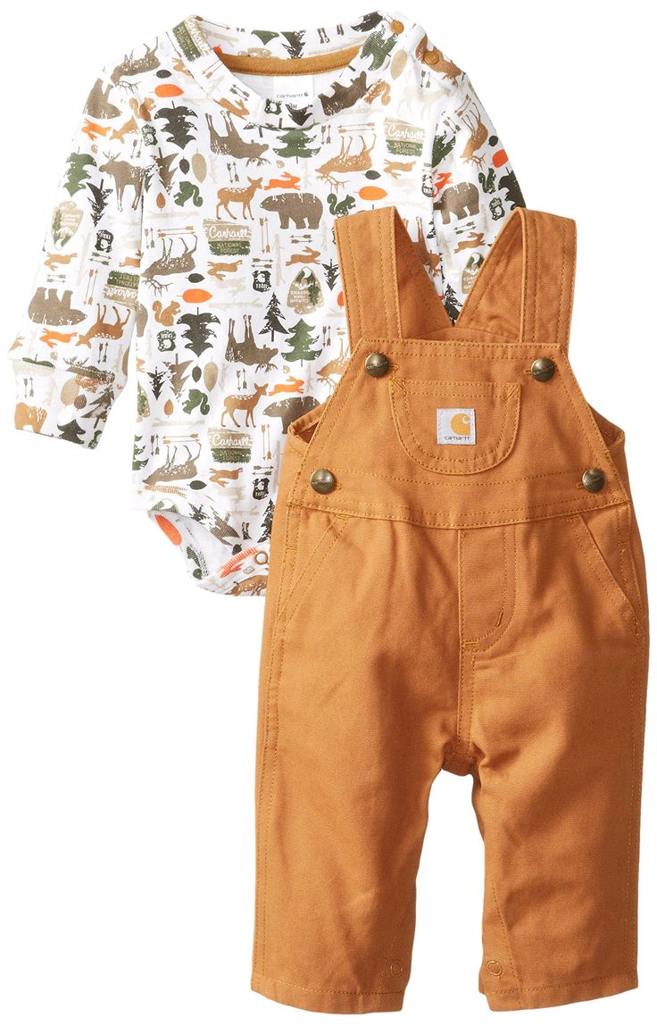 Carhartt Baby-Boys Canvas Bib Overall Set, Carhartt Brown, 24 Months