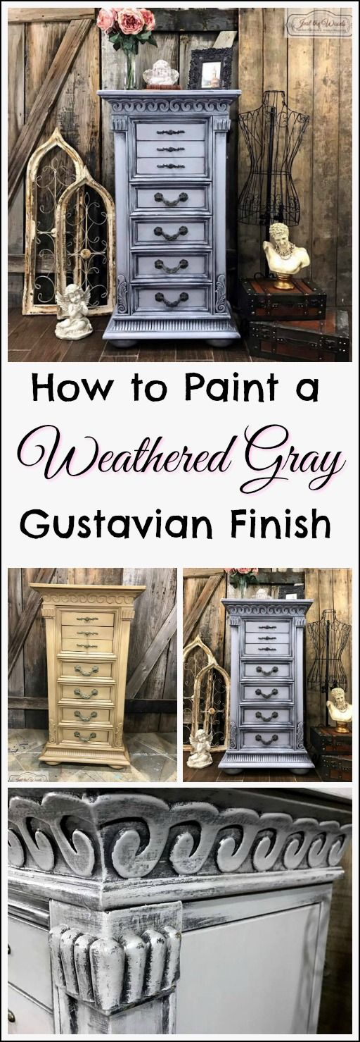 This standing jewelry chest was painted in a weathered gray, layered gustavian finish, also known as a romantic swedish, or french country. See how to get this finish on your painted furniture makeovers too