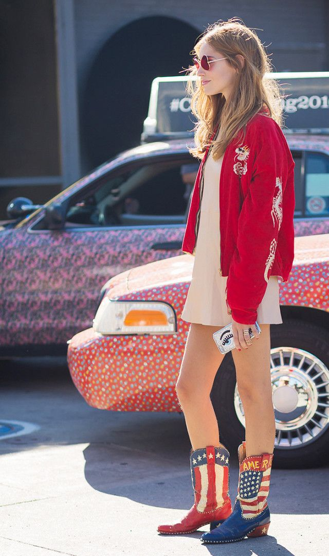 dresses to wear with cowboy boots - Chiara Ferragni tan dress red bomber jacket
