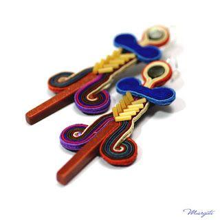 Margita, hand embroidered jewelry.: Azteckie kolczyki haftowane