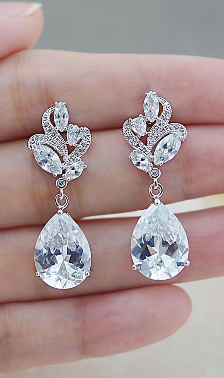 Vintage style bridal earrings See more here: http://www.earringsnation.com/jewelry/bridal-jewelry/vintage-style-floral-cubic-zirconia-bridal-earrings#.VsJ5V_l96M8