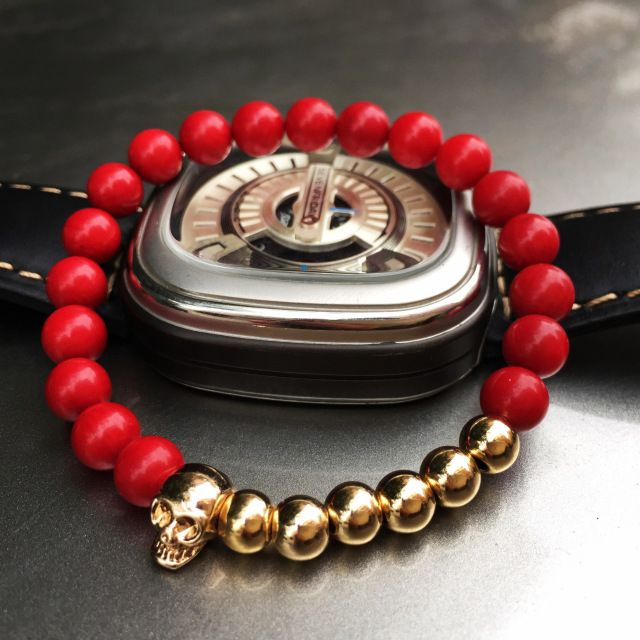 2015 nuevo estilo Northskull cráneo moda masculina chica pulseras 6 MM coral rojo rock de la alta calidad envío gratis