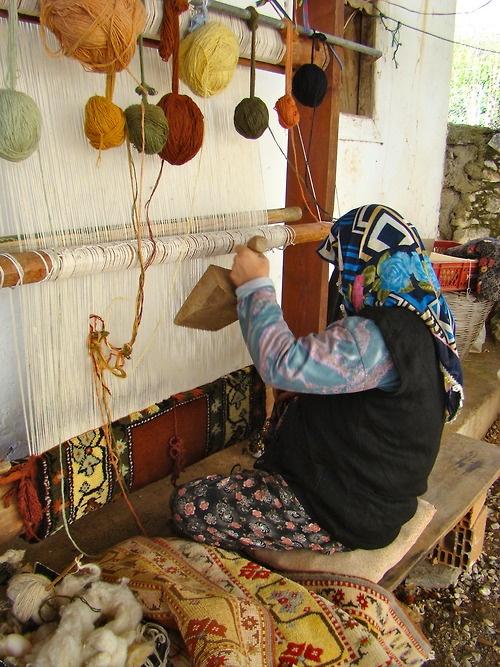 Traditional carpet making, Bodrum Turkey