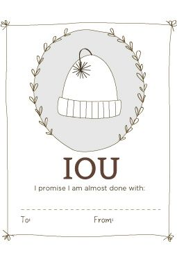 Free IOU printables for Gifts your still working on!