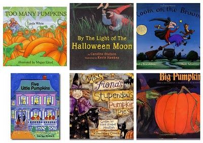 """Great list of Halloween books (31 for a count down actually). Also some fun looking books in the comment sections like """"The Hallo-Wiener"""" by Dav Pilkey."""