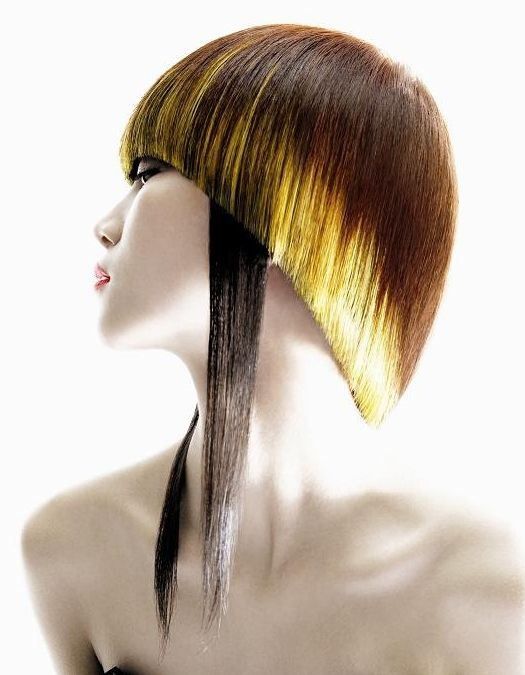 Blonde brown hair modern extreme artistic cut straight bowl.  ok, I don't want this haircut. But I LOVE the way its short with just a little bit of edgy longness