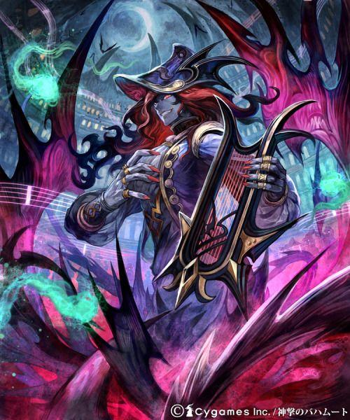 「トラジディパフォーマー」  神撃のバハムートにて制作させていただきました。  ハープを奏で死の演奏をするヴァンパイアという感じだったとおもいます。  この絵は確かグリザイユで描いたものだったような~ 1年以上前だと記憶が曖昧でいかんです
