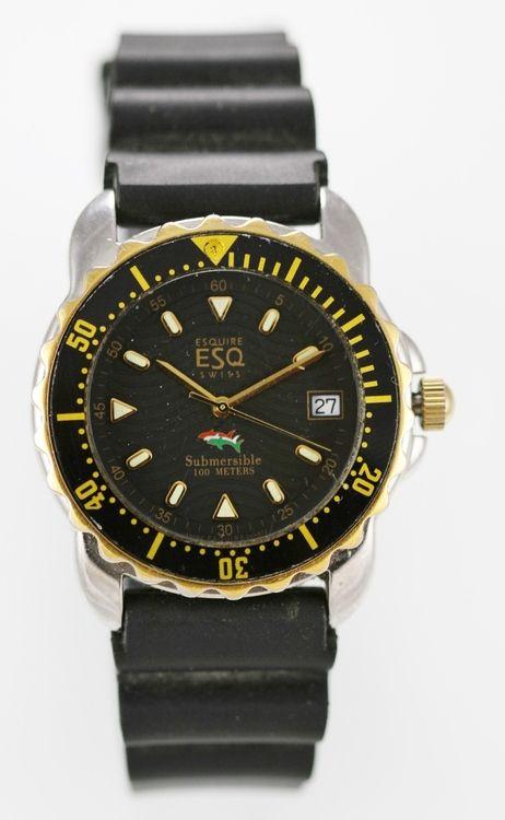 ESQ Watch Mens Date Stainless Gold Silver Water Resist 100m Rubber Black Quartz