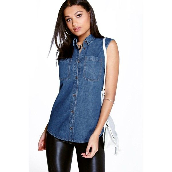 Boohoo Casey Sleeveless Patch Pocket Denim Shirt (2,055 INR) ❤ liked on Polyvore featuring tops, blue denim shirt, sleeveless tops, sleeveless denim top, sleeveless denim shirts and denim shirts
