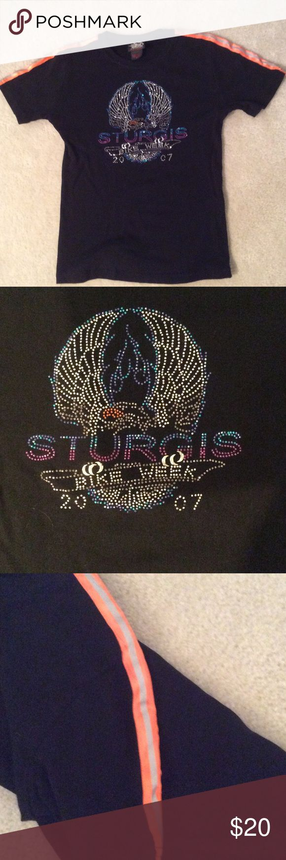 Reflective Sturgis Bike Week Shirt S Black tee from Sturgis Bike Week 2007.  Reflective piping on shoulders and awesome detailing on front.  EUC! biker design Tops Muscle Tees